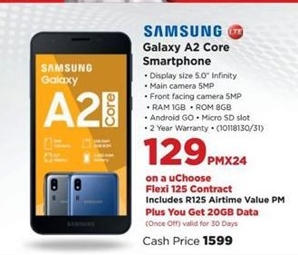 Samsung Galaxy A2 Core Smartphone offer at R 129