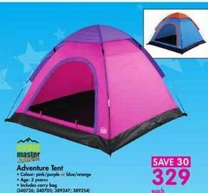 Adventure Tent offer at R 329