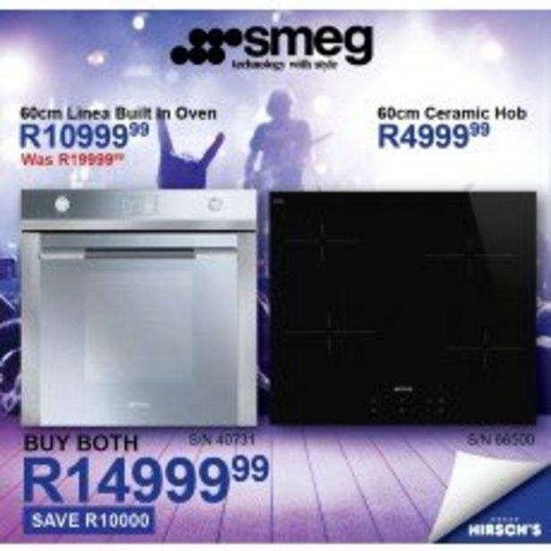 Smeg 60cm Ceramic Hob (SE264TD) & Smeg 60cm Built-in Oven 9 (SFP130) Combo offer at R 14999,99