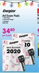 Energizer A4 Exam Pads offer at R 34,8