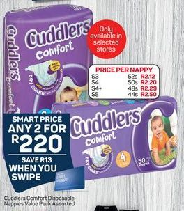 Cuddlers Comfort Disposable Nappies 2 offer at R 220