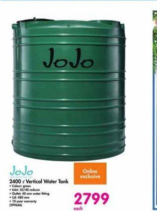 JoJo 2400 l Vertical Water Tank offer at R 2799