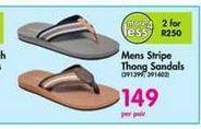 Mens Stripe Thong Sandals offer at R 149