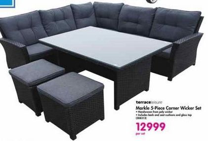 Terraceleisure Markle 5-Piece Corner Wicker Set offer at R 12999