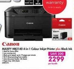 Canon Maxify MB2140 4-in-1 Colour Inkjet Printer plus Black Ink offer at R 2299