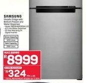 Samsung Metallic Fridge with Botton Freezer and Water Dispenser offer at R 8999