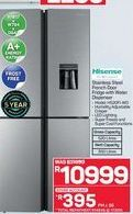 Hisense Stainless Steel French Door Fridge with Water Dispenser offer at R 10999