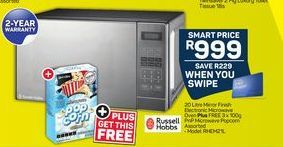 Russell Hobbs Mirror Finish Electronic Microwave Oven plus 3 PnP Microwave Popcorn offer at R 999