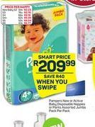 Pampers New or Active baby Disposable Nappies / Pants Jumbo Pack offer at R 209,99