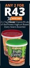 Clover Classic / Fruit of the Forest Yoghurt Based Dairy Snack 2 offer at R 43