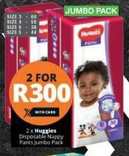 Huggies Disposable Pants Jumbo Pack 2 offer at R 300