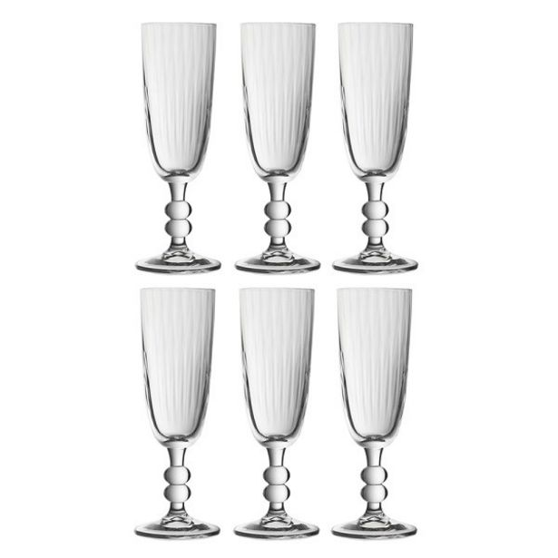 BOHEMIA NEW ENGLAND 6 FLUTE GLASSES 180ML offers at R 199