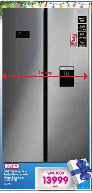 Defy Side-by-Side Fridge / Freezer with Water Dispenser offer at R 13999