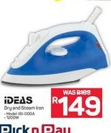 Ideas Dry and Steam iron offer at R 149