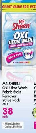 Mr Sheen Oxi Ultra Wash Fabric Stain Remover Value Pack offer at R 38