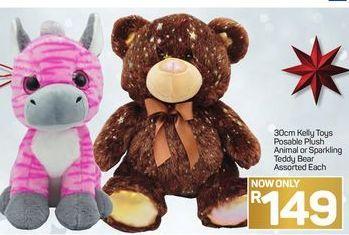 30cm Kefy Toys Posable Plush Animal or Sparkling Teddy Bear offer at R 149
