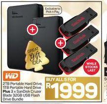 WD 2TB Portable Hard Drive, 1TB Portable Hard Drive + SanDisk Cruzer Blade 32GB USB Flash Drive Bundle 3 offers at R 1999
