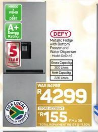 Defy Metallic Fridge with Bottom Freezer and Water Dispenser  offer at R 4299