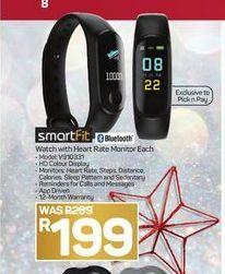 SmartFit Watch with Heart Rate Monitor offer at R 199