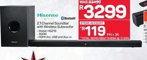 Hisense 2.1 Channel Soundbar with Wireless Subwoofer offer at R 3299