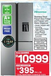 Hisense Stainless Steel French Door Fridge and Freezer with Water Dispenser offer at R 10999