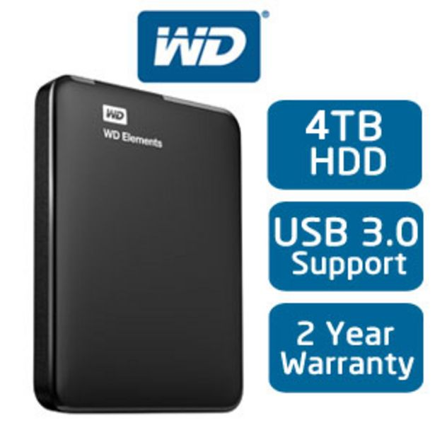 """WD 4TB Elements 2.5"""" Portable HDD offers at R 1599"""
