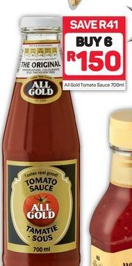 All Gold Tomato Sauce 6 offer at R 150