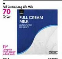 M Full Cream Long Life Milk offer at R 70