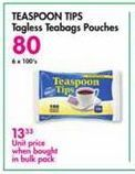 Teaspoon Tips Teabag Pouch offer at R 80