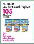 Nutriday Low Fat Smooth Yoghurt  offer at R 105