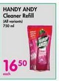 Handy Andy Cleaner Refill offer at R 16,5