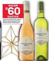 Durbanville Hills Sauvignon Blanc or Chardonnay or Merlot Rose offer at R 60