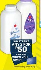 Johnson's Baby Powder 2 offer at R 50