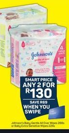 Johnson's Baby Gentle All Over Wipes or baby Extra Sensitive Wipes 2 offer at R 130