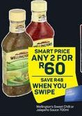 Wellington's Sweet Chilli / Jalapeno Sauce 2 offer at R 60