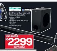 Hisense 2.1 Channel Soundbar with Wireless Subwoofer offer at R 2299