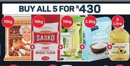 Aunt Caroline Long Grain Parboiled Rice & Sasko Cake Wheat Flour & PnP Livewell Super Maize Meal & PnP White Sugar & PnP Sunflower Oil offer at R 430