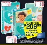 Pampers Disposable Pants New Baby-Dry Jumbo Pack / Premium Care Disposable Nappies Value Pack offer at R 209,99