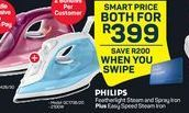 Philips Featherlight Steam and Spray Iron + Easy Speed Steam Iron offer at R 399