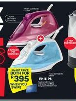 Philips Featherlight Steam and Spray Iron + Easy Speed Steam Iron offer at R 395