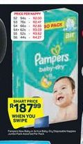 Pampers New or Active Baby Disposable Nappies Jumbo Pack offer at R 187,99