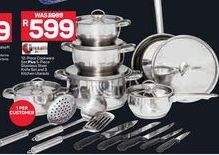 12-Piece Cookware Set + 5-Piece Stainless Steel Knife Set and 3 Kitchen Utensis  offer at R 599