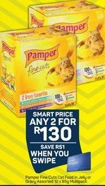 Pamper Fine Cuts Cat Food in Jelly or Gravy 2 offer at R 130