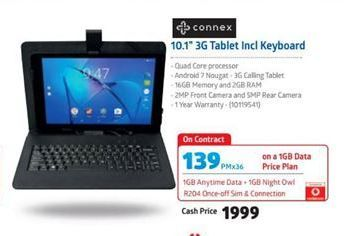 Connex 10.1'' 3G Tablet Incl Keyboard offers at R 139