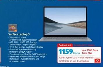 Microsoft Surface Laptop 3 offers at R 1159