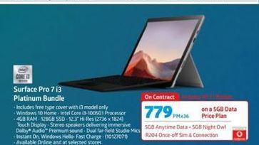 Microsoft Surface Pro 7 i3 Platinum Bundle offers at R 779