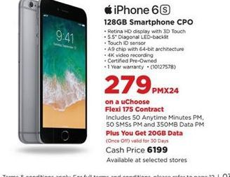 Apple iPhone 6s Smartphone CPO  offer at R 279