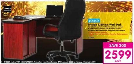 Classic Prestige 1350mm Work Desk offer at R 2599