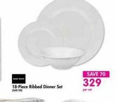18-Piece Ribbed Dinner Set offer at R 329