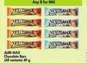 Alibi Max Chocolate Bars 8 offer at R 45